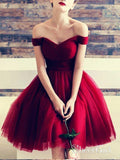 Off the Shoulder Maroon Homecoming Dresses Tulle Knee Length Burgundy Hoco Dress ARD1211-SheerGirl