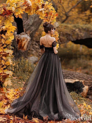 Off the Shoulder Non-traditional Black Wedding Dresses Simple Long Prom Dress AWD1354-SheerGirl