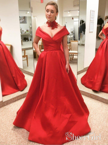 Off the Shoulder Red Prom Dresses with Pocket A Line Quinceanera Dress for Junior APD3385-SheerGirl