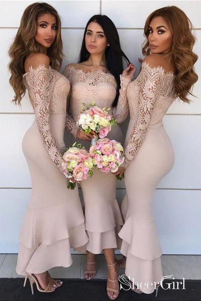 Off the Shoulder Tea Length Nude Bridesmaid Dresses with Lace Sleeve APD3333-SheerGirl