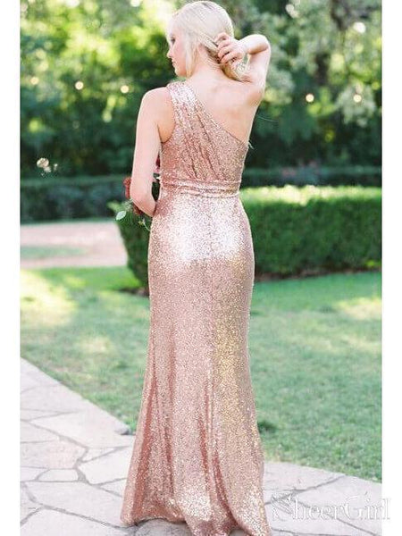 One Shoulder Cheap Bridesmaid Dresses Sequins Sparkly Long Formal Dresses PB10022-SheerGirl