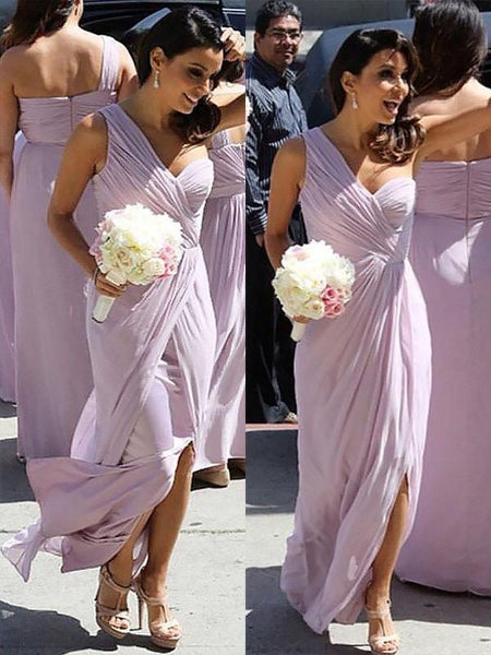 One Shoulder Lilac Bridesmaid Dresses with Slit Plus Size Bridesmaid Dress ARD1174-SheerGirl
