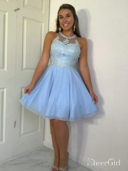 Pink Beaded Homecoming Dresses Knee Length Cute Homecoming Dresses ARD1350-SheerGirl