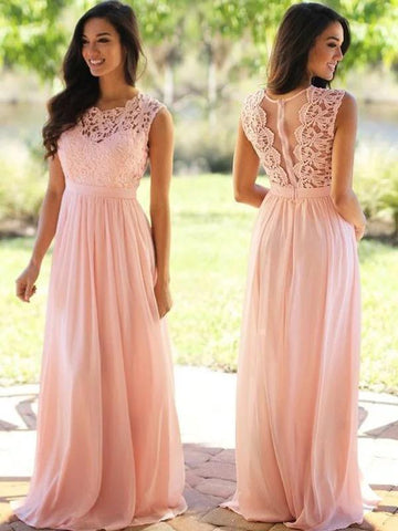 Pink Bridesmaid Dresses Lace Top Long Chiffon Wedding Guest Dresses ARD1186-SheerGirl