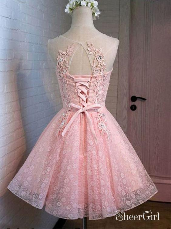 Pink Lace Short Prom Dresses Lace appliqued Homecoming 2018 Dresses,apd2488-SheerGirl