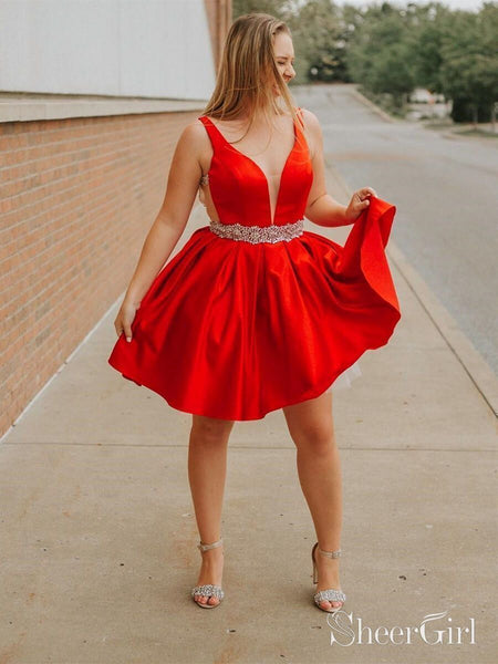 Plus Size Red Short Prom Dresses Backless Beaded Homecoming Dress ARD2016-SheerGirl
