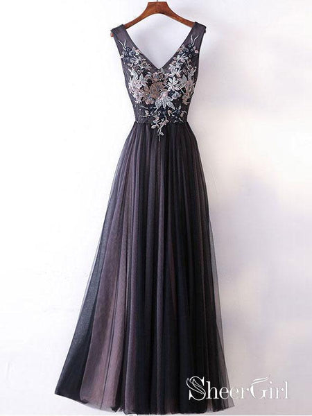 Princess/A-line V-neck Lace Appliqued Simple Long Prom Dresses Evening Gowns APD3007-SheerGirl