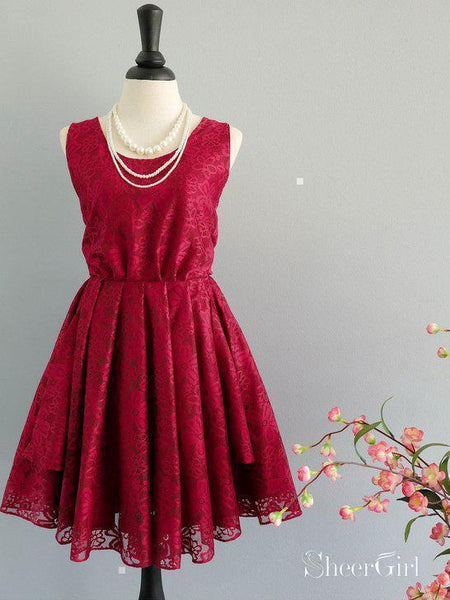 Red Lace Short Homecoming Dresses Cheap Cute Homecoming Dress with Bow ARD1481-SheerGirl