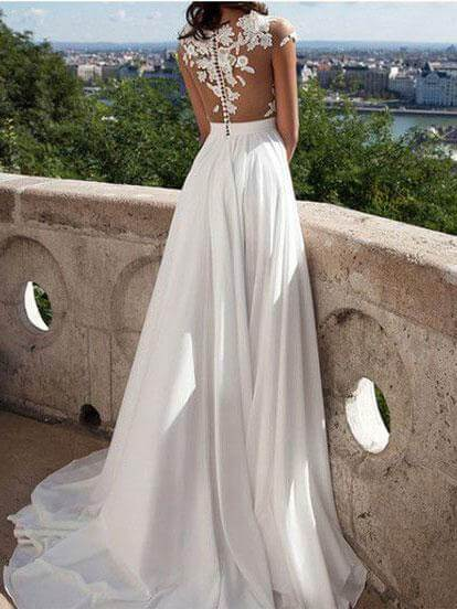See-through Lace appliqued Chiffon Beach Wedding Dresses with Slit,apd2679-SheerGirl