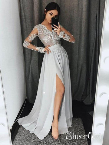 See-through Lace Top Silver Prom Dresses Chiffon Long Sleeve Evening Dress with Slit APD2749-SheerGirl
