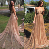 Sexy Sparkly Sheer Lace Prom Dresses Spaghetti Strap V Neck Formal Dress ARD1872-SheerGirl
