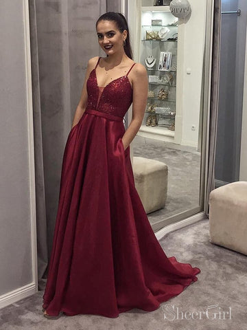 Simple Burgundy Long Prom Dresses with Pockets and Sequin Bodice ARD2067-SheerGirl