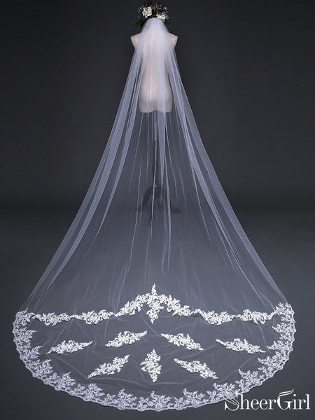 Simple One Tier White Cathedral Veils with Lace Train ACC1070-SheerGirl