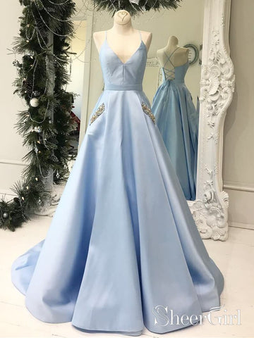 Simple V Neck Sky Blue Satin Long Prom Dresses with Pocket ARD1968-SheerGirl