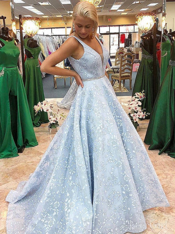 Sky Blue Floral Lace Prom Dresses V Neck Ball Gown Prom Dress ARD2195-SheerGirl
