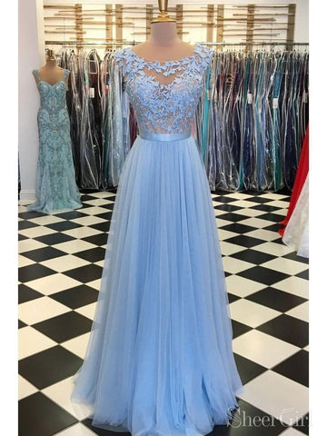 Sky Blue Lace & Tulle Long Prom Dresses Cheap Formal Formal Dress ARD2117-SheerGirl