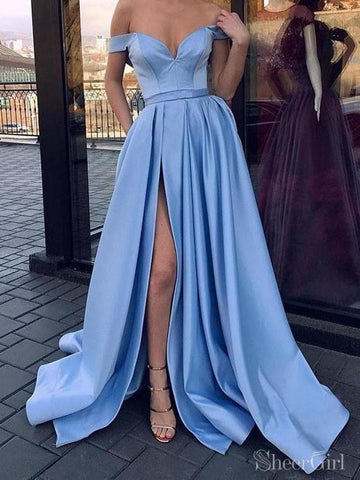Sky Blue Off the Shoulder Simple Prom Dresses with Pockets and Slit ARD2153-SheerGirl