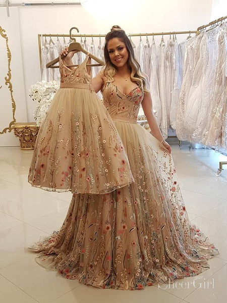 Spaghetti Strap Floral Embroidery Prom Dresses Long Formal Dress ARD1896-SheerGirl