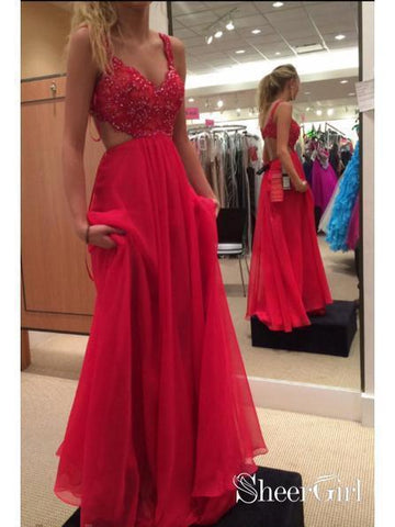 Spaghetti Strap Lace Bodice Red Chiffon Prom Dresses Formal Dress APD1722-SheerGirl
