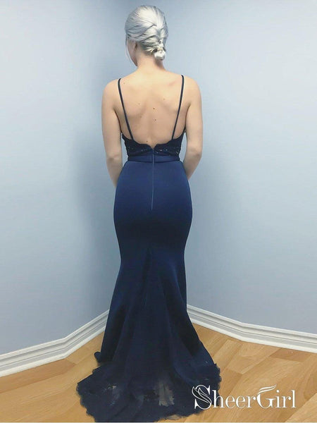Spaghetti Strap Navy Blue Mermaid Prom Dresses Backless Evening Dress APD3312-SheerGirl