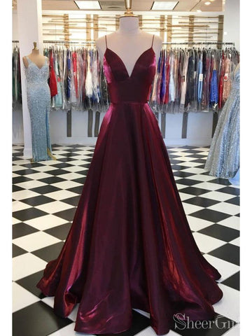 Spaghetti Strap Simple Maroon Prom Dresses V Neck Satin Prom Dress ARD2113-SheerGirl