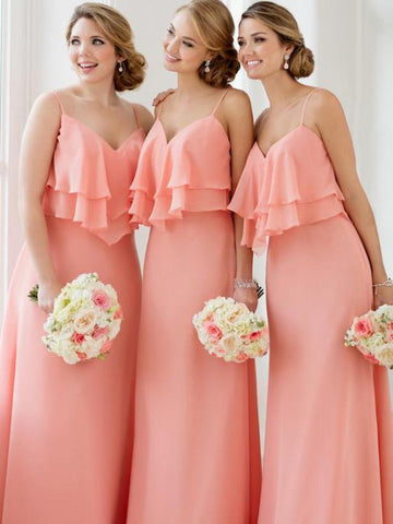 Spaghetti Strap V Neck Coral Long Bridsmaid Dresses Plus Size ARD1385-SheerGirl