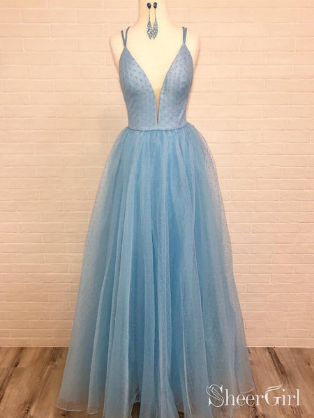 Spaghetti Strap V Neck Sky Blue Prom Dress with Tiny Dot Print ARD1965-SheerGirl