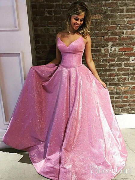 Sparkly Pink Long Prom Dresses with Pocket Shiny Princess Ball Gown ARD1878-SheerGirl