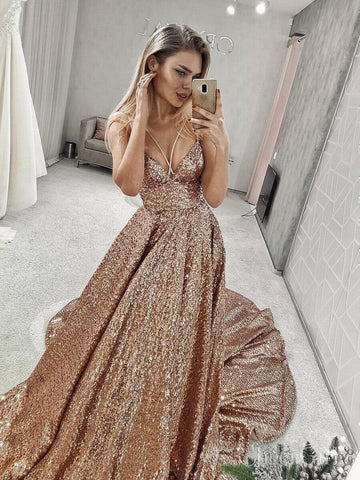 Sparkly Sequin V Neck Sequin Long Prom Dresses with Straps ARD2068-SheerGirl