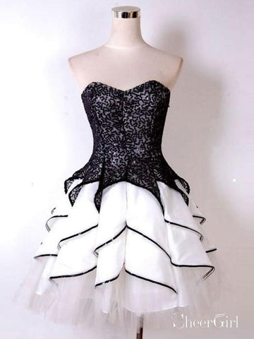 Strapless Black and White Homecoming Dresses Sweetheart Cocktail Dress apd1766-SheerGirl