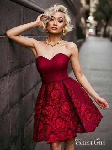 Sweetheart Neck Burgundy Homecoming Dresses Lace Appliqued Homecoming Dress ARD1486-SheerGirl