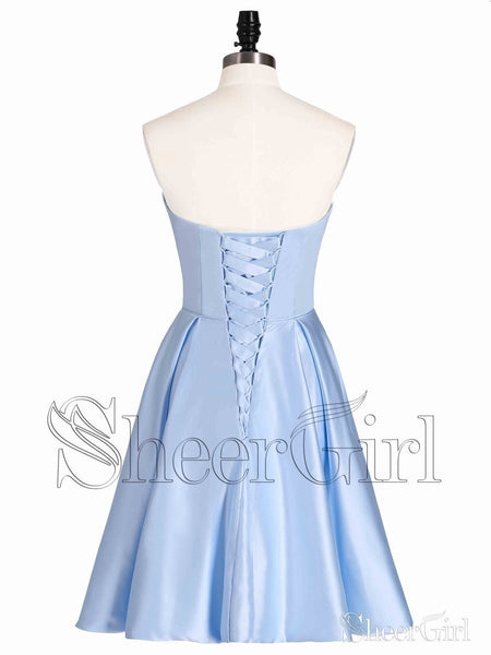 Sweetheart Neck Corset Back Sky Blue Short Homecoming Dresses with Pocket ARD1607-SheerGirl