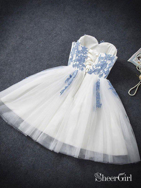 Sweetheart neck Ivory Tulle with Blue Lace Appliqued Homecoming Dresses,apd2574-SheerGirl