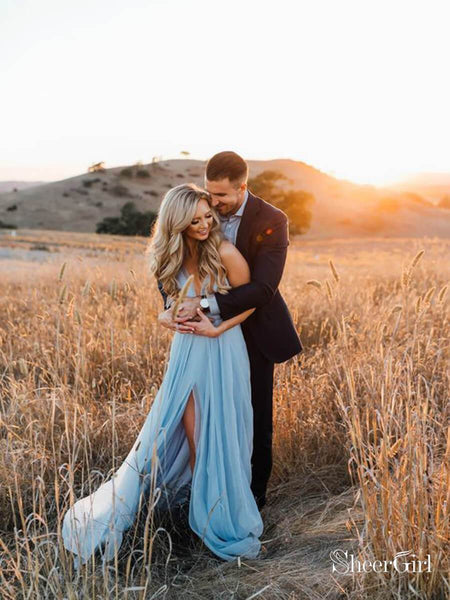 Thigh Split Sky Blue Rustic Wedding Dresses Beach Wedding Gown with Court Train ARD1325-SheerGirl