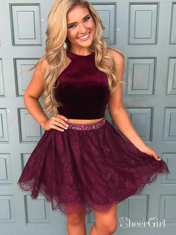 Two Piece Halter Lace Skirt Burgundy Homecoming Dresses with Rhinestone ARD1779-SheerGirl