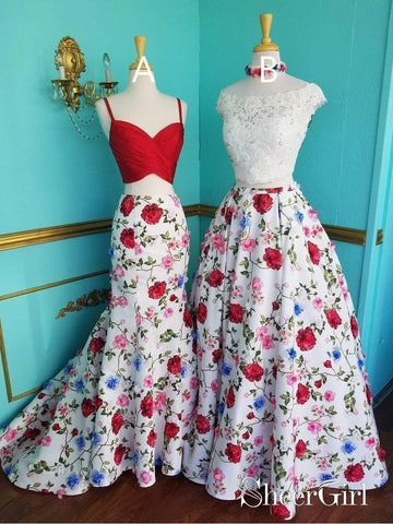 Two Piece Mermaid Floral Printed Prom Dresses Red A Line Lace Top Evening Ball Gowns APD3399-SheerGirl