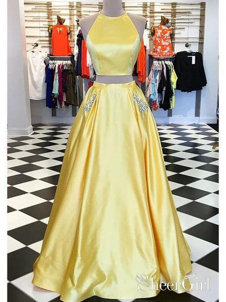 Two Piece Yellow Rhinestone Beaded Prom Dresses with Pocket Simple Formal Dresses ARD1067-SheerGirl