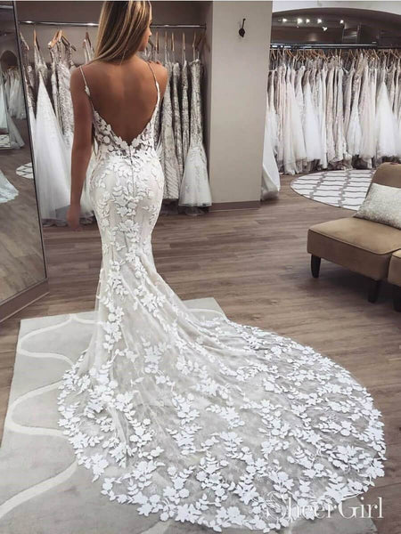 Vintage Embroidery Lace Mermaid Wedding Dresses Boho Bridal Gown AWD1455-SheerGirl