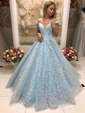 Vintage Lace Ball Gown Prom Dresses Off the Shoulder Prom Dress ARD2182-SheerGirl