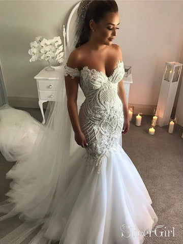 Vintage Lace Mermaid Wedding Dresses with Arm Band AWD1459-SheerGirl