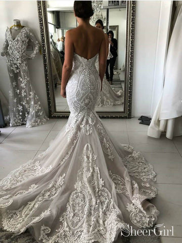 Vintage Lace Wedding Dresses Sweetheart Neck Mermaid Wedding Dress AWD1501-SheerGirl