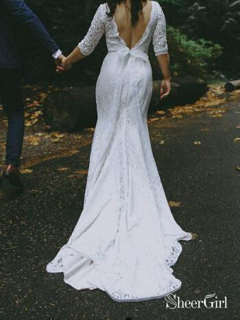 White Mermaid Lace Wedding Dresses with Sleeves Backless Rustic Bridal Dress AWD1363-SheerGirl