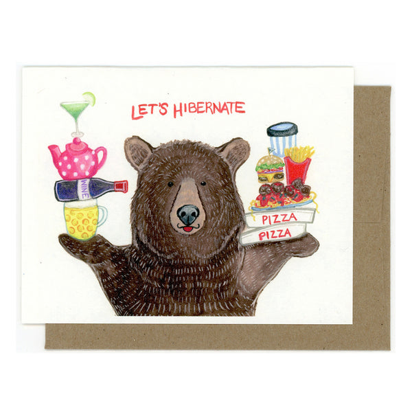 """Let's Hibernate"" Bear Card"
