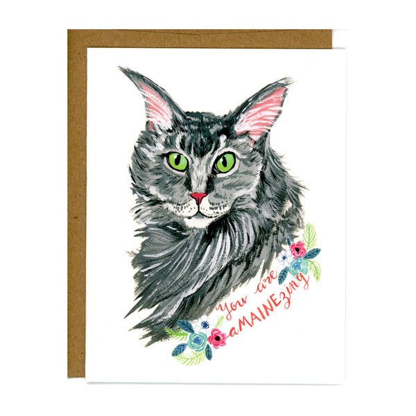 """You Are Amainezing"" Maine Coon Cat Card"
