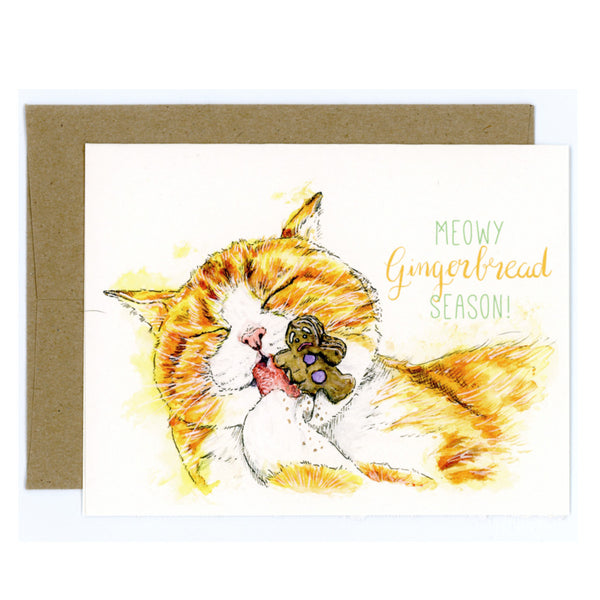 Meowy Gingerbread Season - Christmas Cat Card