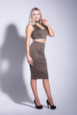 Choker Crop Top and Bodycon Skirt