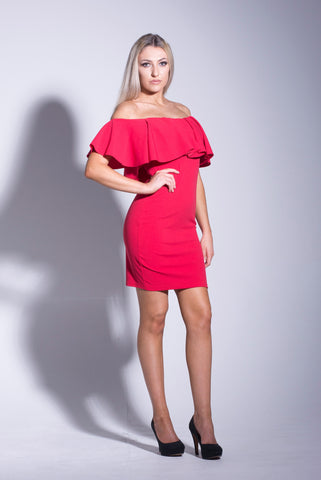 Red Bardot Frill Bodycon Dress