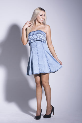 Bleach Wash Bandeau Embroidered Dress