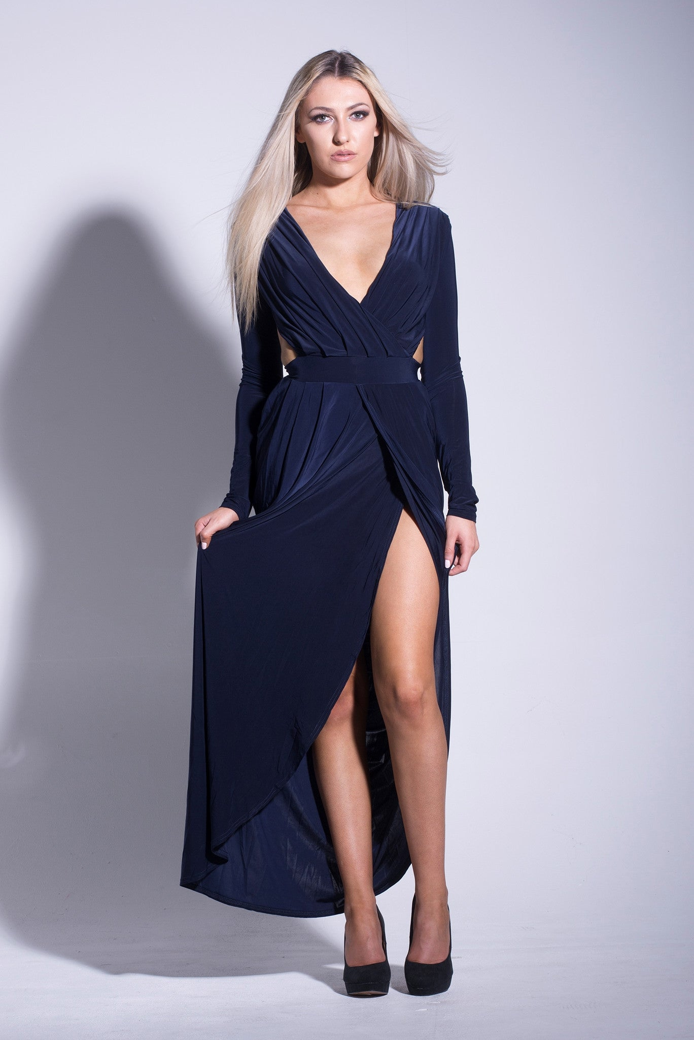 23fae886b063 Navy Slinky Cut Out Maxi Dress | LaBoutique21
