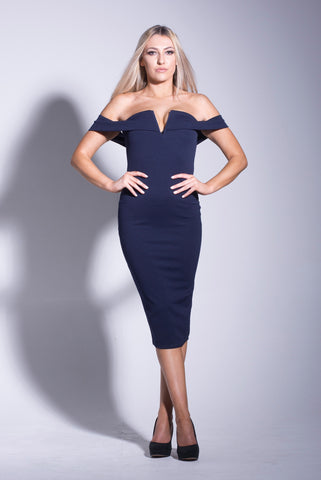 Copy of Black Off Shoulder Plunge V Neck Midi Bodycon Dress